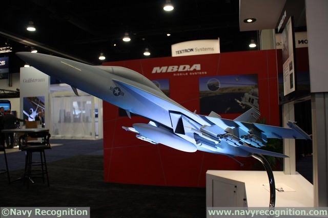 F/A-18E Scale Model fitted with 12x Dual Mode Brimstone missile on MBDA Inc. stand at Sea Air Space 2015 exposition.