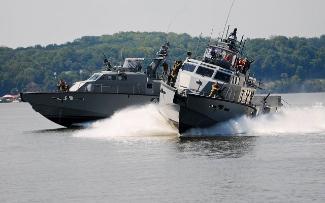 U.S. Navy Coastal Riverine Group 2 has taken ownership of the first two of 12 Mark VI Patrol Boats, in Portsmouth, Sept. 8. The MK VI, an 85-foot combatant craft, will provide a persistent capability to patrol shallow littoral areas for the purpose of force protection of friendly and coalition forces as well as critical infrastructure.