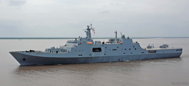 Chinese media recently released pictures showing the fourth People's Liberation Army Navy (PLAN or Chinese Navy) Type 071 amphibious transport dock LPD Yimeng Shan (hull number 978) on sea trials. Yimeng Shan was built Hudong-Zhonghua Shipbuilding, a wholly owned subsidiary of China State Shipbuilding Corporation (CSSC, the largest shipbuilding group in China) as was the case for the first three Type 071 vessels. It was launched in January this year.