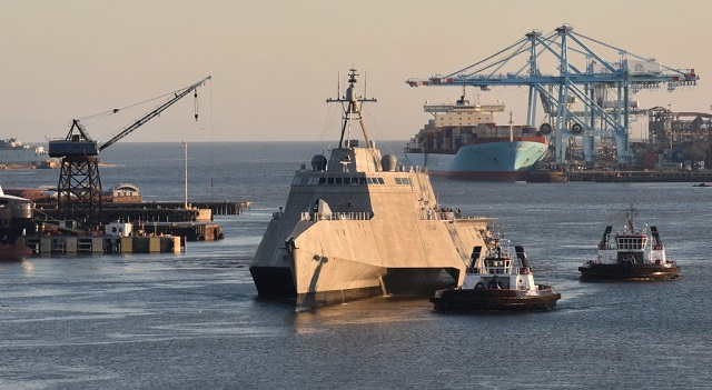 The future USS Montgomery (LCS 8) successfully completed phase two of its [A1] builder's trials, which included extensive testing of the Twin Boom Extensible Crane system, April 21. The builder, Austal USA, will perform any remaining corrective actions required of the ship in preparation for acceptance trials, to be conducted by the Navy's Board of Inspection and Survey (INSURV) later this spring.