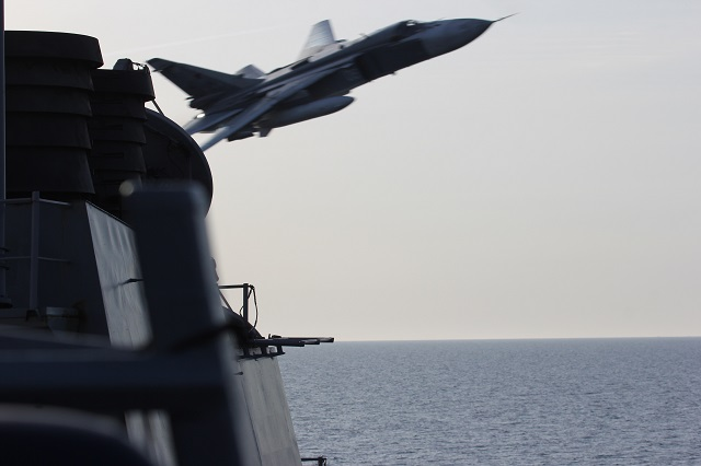 A United States Navy destroyer operating in international waters in the Baltic Sea experienced several close interactions by Russian aircraft April 11 and 12. USS Donald Cook (DDG 75) encountered multiple, aggressive flight maneuvers by Russian aircraft that were performed within close proximity of the ship.