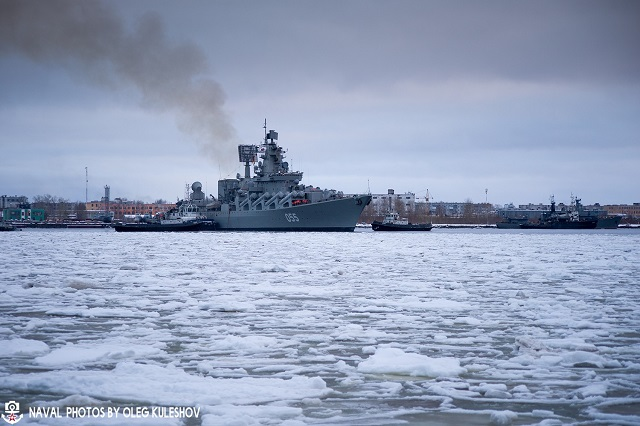 Slava class cruiser MARSHAL USTINOV Russia Navy post refit 2