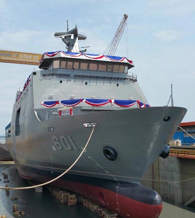 Indonesian state-owned shipbuilder PT PAL launched BRP Tarlac (LD601) the Philippine Navy's first Strategic Sealift Vessel (SSV) at its shipyard in Surabaya. The vessel was launched and christened right before the launch of a SIGMA 10514 Perusak Kawal Rudal (PKR) guided-missile frigates for the Indonesian Navy (TNI AL).