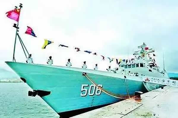 "A commissioning, naming and flag-presenting ceremony of the new ""Jingmen"" corvette (hull number 506) of the People's Liberation Army Navy (PLAN or Chinese Navy) was held solemnly at the Yulin Naval Base located on Hainan island in China. The event means that the warship is officially commissioned to the PLAN. ""Jingmen"" is the twenty-fourth Type 056 Corvette (Jiangdao class)."