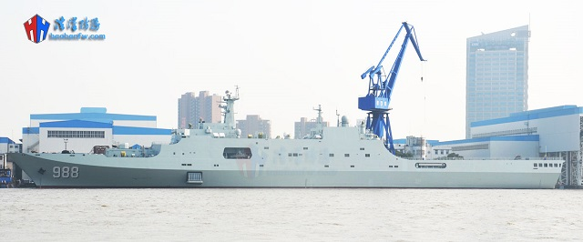 An article published on the website of the Chinese town of Linyi indicates that the fourth People's Liberation Army Navy (PLAN or Chinese Navy) Type 071 amphibious transport dock LPD Yimeng Shan (hull number 988) will be commissioned next Monday, February 1st 2016. Yimeng Shan was built by Hudong-Zhonghua Shipbuilding, a wholly owned subsidiary of China State Shipbuilding Corporation (CSSC, the largest shipbuilding group in China) as was the case for the first three Type 071 vessels.