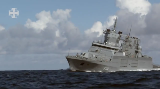 "The German Navy (Deutsche Marine) released a nice video showing the first F125 frigate conducting sea trials off the coast of Denmark. Viewers can see the ""Baden-Württemberg"" being put through several maneuvers (high speed turns, man-overboard maneuver) to verify the control of the ship. The crew consisting of German Navy sailors and civilian engineers are also testing systems onboard such as the TRS-4D radar system."