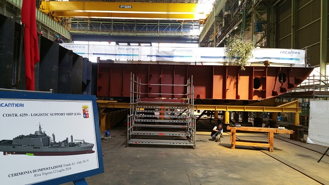 The keel laying ceremony of the Logistic Support Ship (LSS) was held today at Fincantieri's shipyard in Riva Trigoso (Sestri Levante, Genoa). Construction works continue on the first unit of the renewal plan of the Italian Navy's fleet, which has been commissioned to Fincantieri. The vessel will be delivered in 2019.