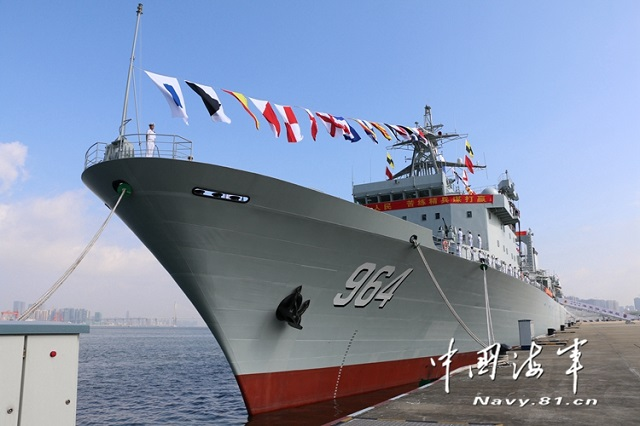 The People's Liberation Army Navy (PLAN or Chinese Navy) commissioned two Type 903A Fleet Replenishement Oilers on July 15 2016 with China's South Sea Fleet. A commissioning, naming and flag-presenting ceremony was held solemnly at the Zhoushan naval base in east China's Zhejiang province for the new vessels: Honghu (hull number 963) and Luomahu (hull number 964).