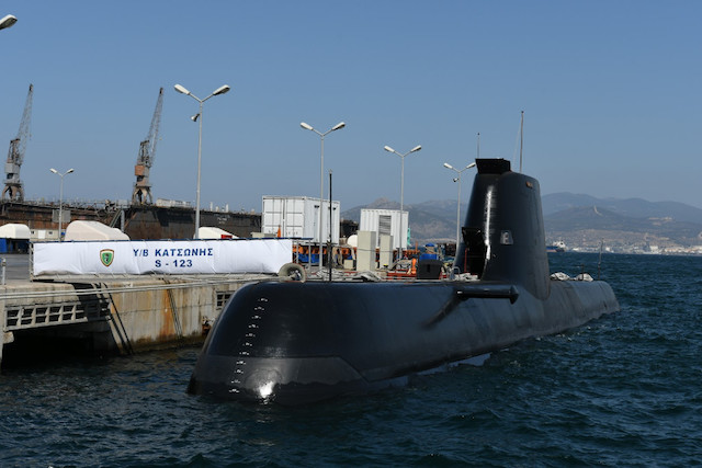 The Hellenic Navy has officially commissioned its newest HDW-HS Type 214 submarines during a ceremony held yesterday at the Hellenic Shipyards. The President of the Hellenic Republic, the Chiefs of Staff and officials attended the raise of the flags ceremony to the two vessels.