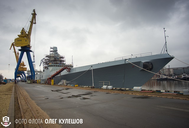 The second Project 22350 Gorshkov-class frigate (the first production-standard one) The Admiral Kasatonov, in construction by the Severnaya Verf Shipyard has been fitted with her weapons suite, the shipyard's press office has told journalists.