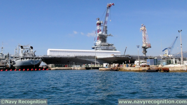 Aircraft Carrier Charles de Gaulle during its mid-life refit in the Vauban dry dock at Toulon naval base.