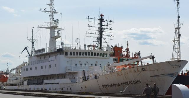 Dockside repairs of Russian Navy Project 865 Romuald Muklevich survey vessel completed