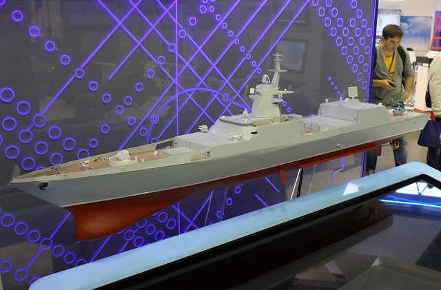 Scale model of an improved Project 22350 frigate on display during IMDS 2017