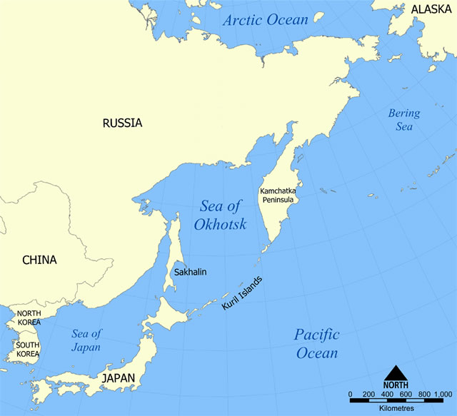 Kuril Islands Sea of Okhotsk map
