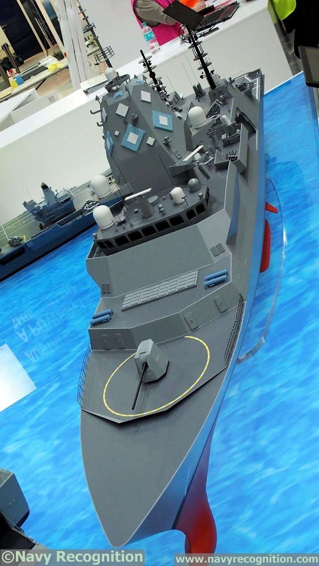 Scale model of BAE Systems Type 26 design for SEA5000 at Pacific 2017