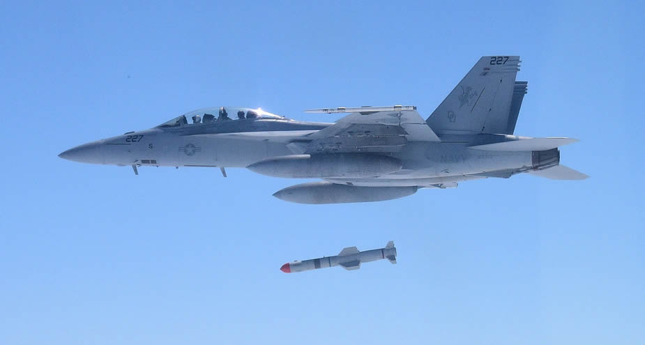 FA 18 launches a Harpoon Block II missile