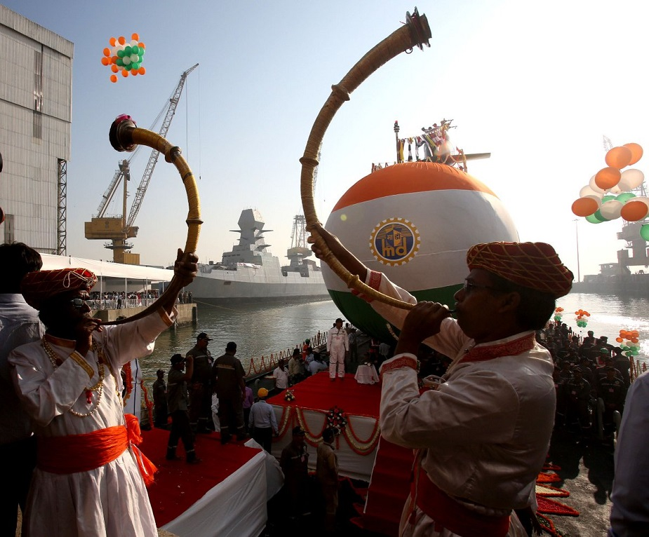 Indias Third Scorpene Submarine Karanj Launched at MDL Shipyard 2