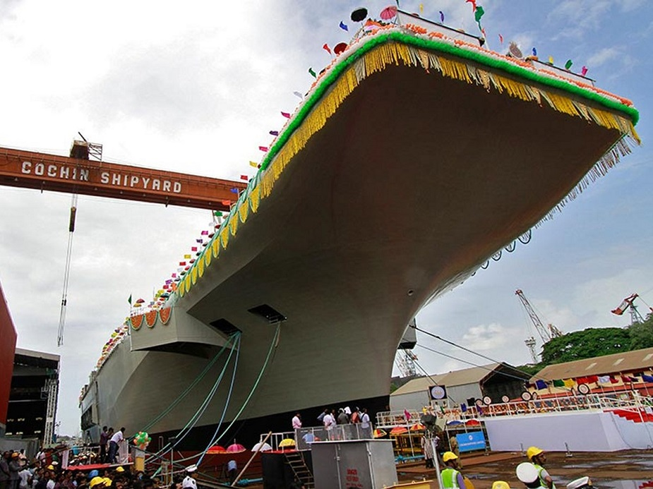 Indias Defence Secretary Reviews Indigenous Aircraft Carrier Vikrant