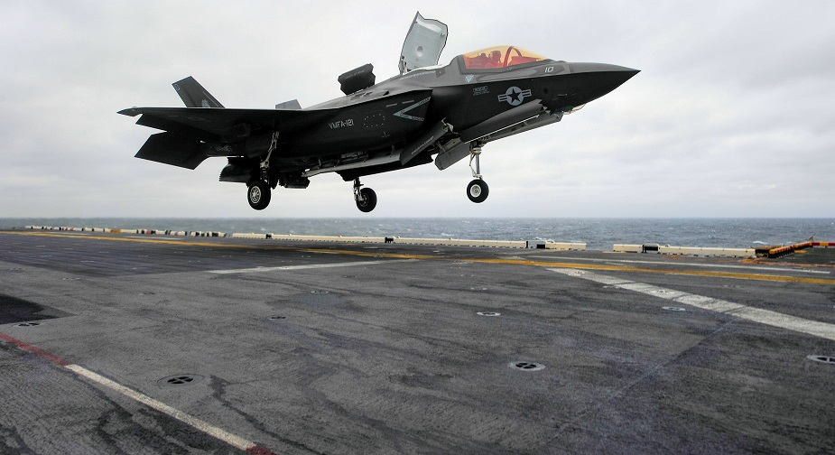 Historic First as F35B Lands on USS Wasp in East China Sea