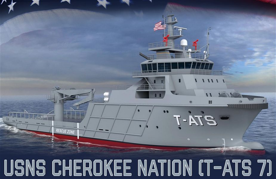 Keel laying ceremony for future USNS Cherokee Nation T ATS 7 Navajo class of Towing Salvage and Rescue vessel 925 001