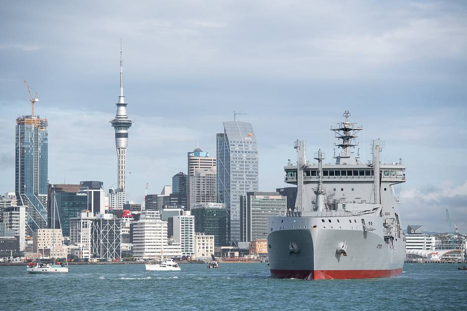 New Polar class tanker vessel HMNZS Aotearoa arrives into Auckland Harbour in New Zealand 925 001