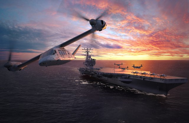 As Bell Helicopter is moving forward with the Osprey integration in the US Navy under the Carrier Onboard Delivery program, the Fort-Worth-based rotorcraft manufacturer started preliminary studies on a naval variants of its future V-280 Valor tiltrotor aircraft. Navy Recognition learned during Sea-Air-Space 2016. A company representative stressed that no Navy requirements have been issued yet however.