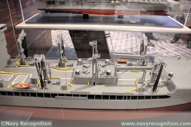 Huntington Ingalls Industries (HII) was showcasing a scale model of the T-AO(X) scale model during the Surface Navy Association's (SNA) National Symposium held last week near Washington DC. We asked a company representative some details about the design. The U.S. Navy's T-AO(X) program is an effort to replace its 15 existing fleet oilers (T-AO 187 Henry J. Kaiser class).