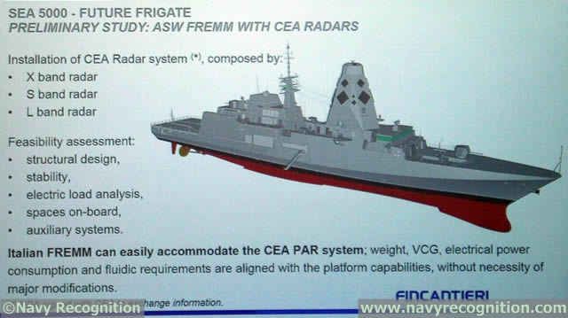 "During an industry meeting at PACIFIC 2015, Fincantieri unveiled the design of its proposal for the SEA5000 Future Frigate program. Based on the Italian Navy FREMM ASW (Virginio Fasan class), Fincantieri says it recently conducted feasibility studies to proof the possibility to use its FREMM platform to cope with different Navy requirements (including Canada and Australia). The Italian FREMM ""can easily accommodate the CEAFAR2 [ed. note Fincantieri presentation mentionned the CEA PAR system]; weigh, CVG, electrical power consumption and fluidic requirements are aligned with the platform capabilities, without the necessity of major modifications"". Finally, Fincantieri says it can easily install the SAAB CMS on board."