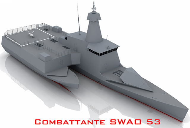 "The Combattante SWAO 53 is a revolutionary stealth ship concept by CMN with a unique outrigger hull design, fitted with a large capable of accommodating both helicopters and UAVs. SWAO stands for ""Small waterplane area outrigger""."