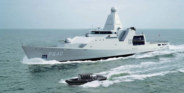"Designed and built by Damen Schelde Naval Shipbuilding for the Royal Netherlands Navy, the Ocean-going Patrol Vessels (or Offshore Patrol Vessel - OPV) are flexible in their deployment and equipped for the surveillance of coastal waters. The ships are able to monitor a wide area (in excess of 100 nautical miles) using a Thales Integrated Sensor and Communication Systems (ISCS) or ""IMAST 400""."