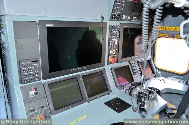 Operator consoles aboard the Royal Navy Merlin Mk2 Helicopter present at DSEI 2015. Lockheed Martin plan to fit five of the same consoles on the SC-130J Sea herc.