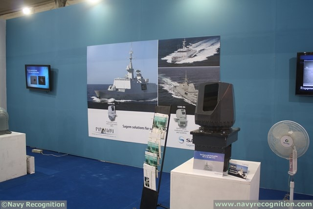New Delhi, Defexpo India, February 7th, 2014. The French defense procurement agency DGA (Direction générale de l'armement) has announced its choice of Sagem (Safran) to modernize the optronic systems on four Horizon and Cassard class air defense frigates in the French navy. These ships will be equipped with Sagem's EOMS-NG, New-Generation Electro-Optical Multifunction System.