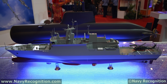 Model of a MEKO 100 Patrol Corvette on TKMS stand during Indo Defence/Indo Marine 2012