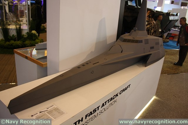 The Stealth Fast Attack Craft scale model on display on the joint Saab/PT Lundin stand at Indodefence 2014