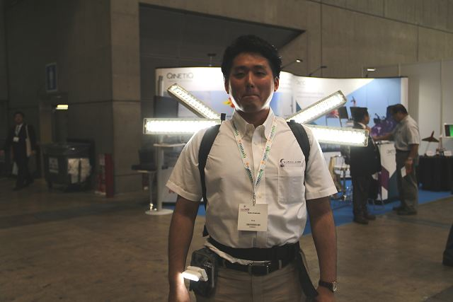 The Japanese Company Mirai-Labo presents a new solution of man-portable rechargeable LED Floodlight under the name of X-teraso at MAST Asia 2017, the Defense Maritime/Air Systems & Technologies Exhibition in Tokyo, Japan.