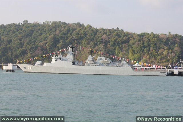 Royal Malaysian Navy Leiku class Frigate KD Jebat (FFG 29) at LIMA 2013