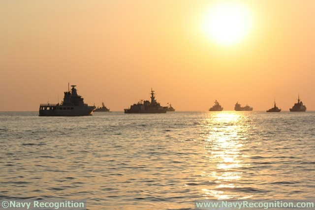 The maritime display at sunset during LIMA 2015