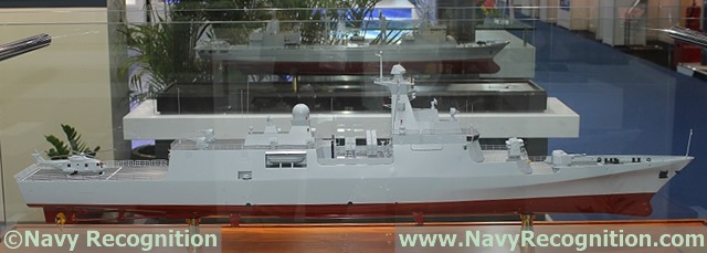 Future Algerian Navy C28A Corvette model as shown on CSTC booth during DSA 2014