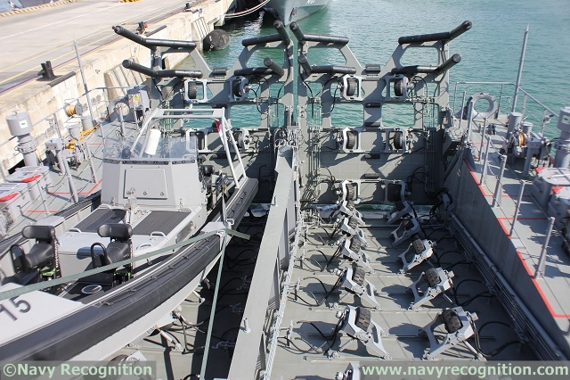 The stern ramps to launch and recover RHIBs