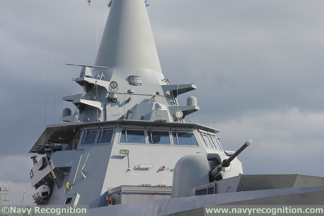 Close Up view of RSS Independence's main gun, pilothouse and integrated mast
