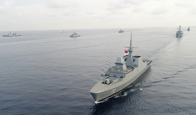 RSS Stalwart leading ships from Canada, France, Japan, Republic of Korea, Philippines, Thailand, the United States of America and Vietnam in the Multinational Group Sail in the South China Sea.