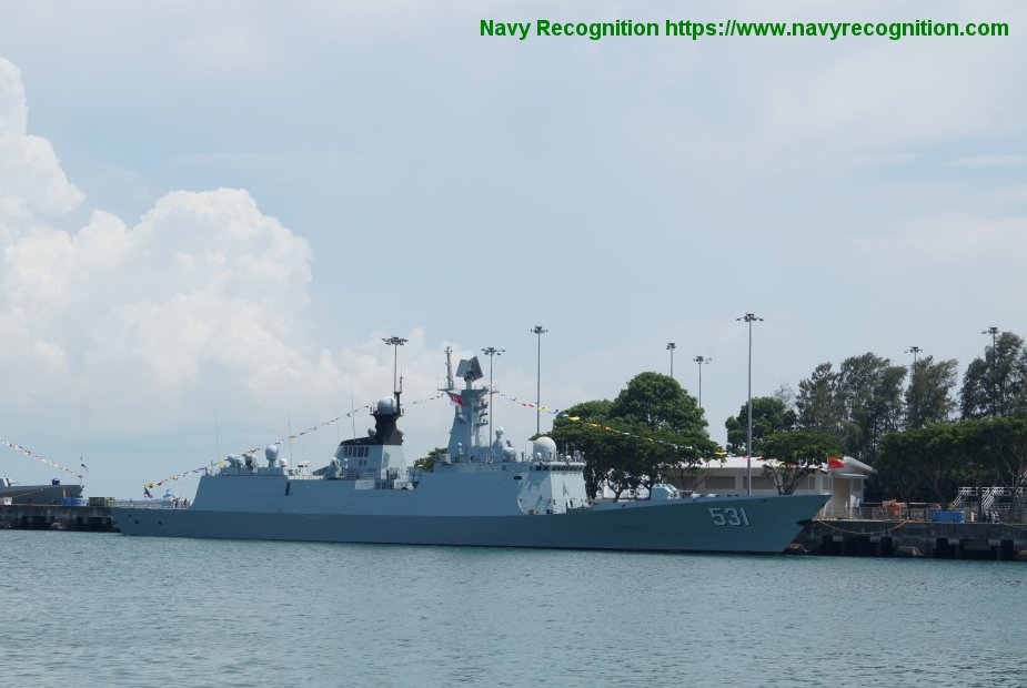 IMDEX 2019 PLA Navy Xiangtan frigate was at the Changi Naval Base