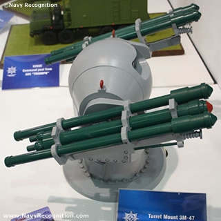GHIBKA 3M-47 Turret Mount is intended for guidance and remote automated launching of IGLA type missiles to provide protection of surface ships with displacement of 200 tons and over against attacks of anti-ship missiles, aircraft and helicopters in close-in area.