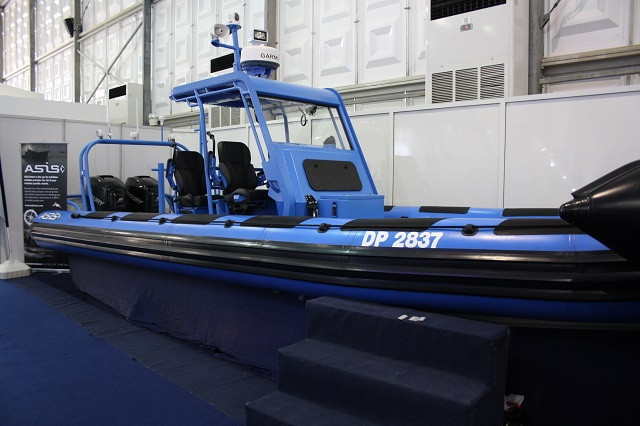 ASIS Boats launched the Bluebird 9.5 meters military rigid inflatable boat at NAVDEX 2015, the International Defense Exhibition & Conference which was held from February 22 -26, 2015 at Abu Dhabi National Exhibition Centre (ADNEC), Abu Dhabi, UAE.