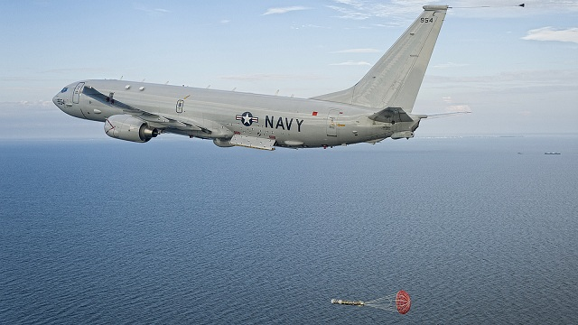 The P-8A Poseidon successfully launched the first MK 54 torpedo during a test event in the Atlantic Test Range Oct. 13.