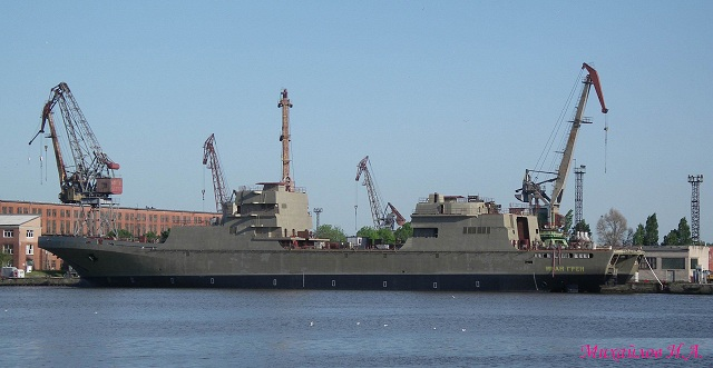 "The Yantar shipyard in the Russia's western-most region, Kaliningrad, said Tuesday that the delivery of a new large landing ship to the Russian navy had been delayed until 2015. ""The mooring trials are expected to begin in August-September of 2014, while the delivery of the ship to the navy is planned for 2015,"" said Yantar spokesman Sergei Mikhailov."