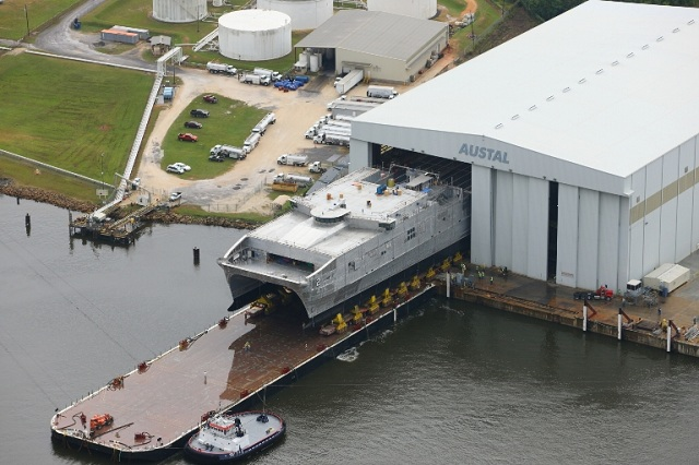 On October 1, 2012, Austal USA successfully completed the launch process of the second Joint High Speed Vessel (JHSV), the recently christened USNS Choctaw County (JHSV 2). This 103-metre high-speed catamaran represents the US Department of Defense's next generation multi-use platform. It is part of a 10-ship program potentially worth over US$1.6 billion.