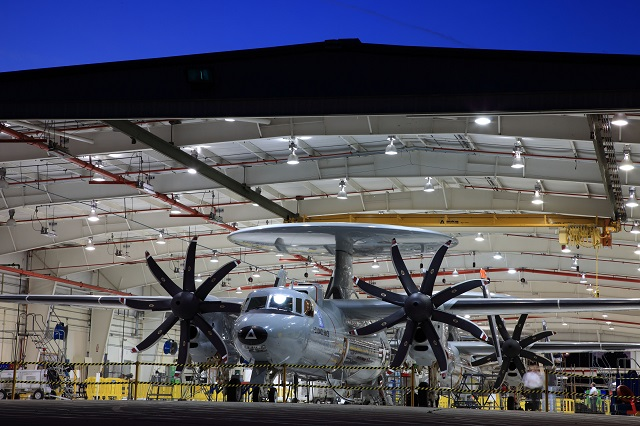 An E-2D Advanced Hawkeye rolling out of the final assembly line in St. Augustine Florida. It takes about two years to built an aircraft. Northrop Grumman is working with a network of about 230 suppliers. Picutre: Northrop Grumman