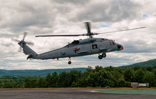 The MH-60R Seahawk, which will soon become the Royal Australian Navy's (RAN) first, arrived July 24 at Lockheed Martin Mission Systems and Training in Owego, N.Y.  This Seahawk will be mission ready and transferred to the RAN in December this year.