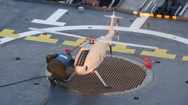 French Navy's Offshore Patrol Vessel L'Adroit conducted in December at sea trials with a Schiebel S-100 Camcopter UAV. The French Navy planned the acquisition of multi-sensor rotary wing UAVs (SDAM Project). The recent test campaign is part of this project and helps to take into account new technologies and their feedback.